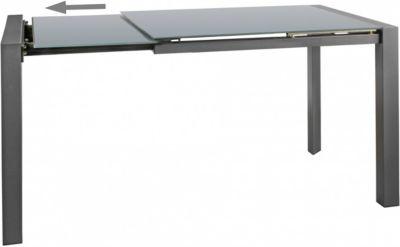 Glas & Metall Esstisch ausziehbar 122 - 182 cm grau