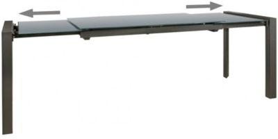 Glas & Metall Esstisch ausziehbar 136 - 236 cm grau