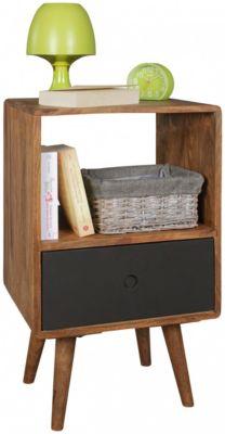 Sheesham Massivholz Nachttisch mit Schublade 40x35x70 cm schwarz/braun