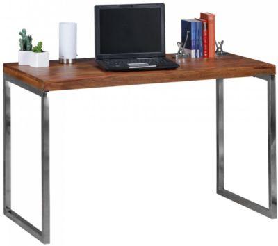 WOHNLING Schreibtisch GUNA Massivholz Computertisch 120 x 60 cm Landhaus Konsolentisch Metallbeinen braun