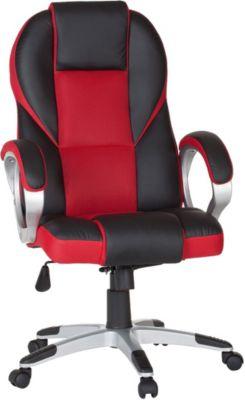 Bürostuhl RACE Gaming Chefsessel Racer Drehstuhl 120kg Synchronmechanik Schreibtischstuhl, rot, AMSTYLE