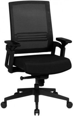 AMSTYLE Bürostuhl APOLLO A2 Stoffbezug Schreibtischstuhl Armlehne blau Chefsessel 120kg Drehstuhl Synchronmechanik XXL schwarz