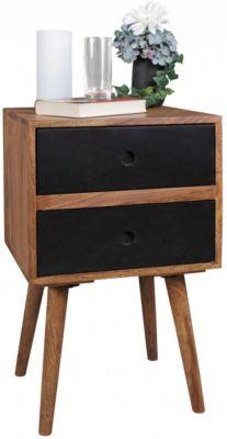 Sheesham Massivholz Nachttisch mit 2 Schublade 40x35x70 cm schwarz/braun