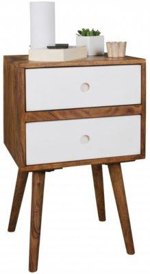 WOHNLING Retro Nachtkonsole REPA / Sheesham Holz Nachttisch mit 2 Schubladen Nachtkästchen 40 x 35 x 55 cm braun