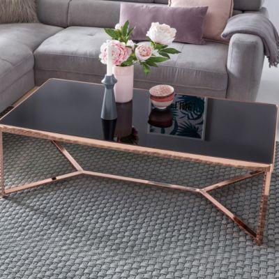 WOHNLING Design Couchtisch Schwarz/Kupfer 120x60 cm Wohnzimmertisch mit Glasplatte modern Sofatisch Glastisch kupfer