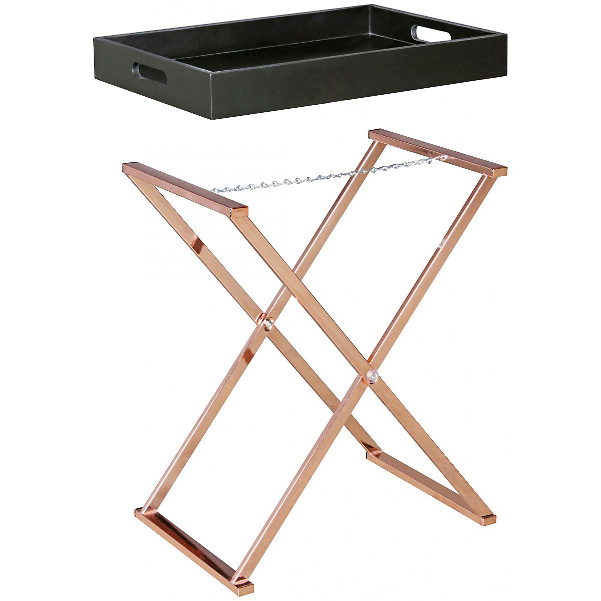 beistelltisch tablett mit klappbarem gestell bronze yomonda. Black Bedroom Furniture Sets. Home Design Ideas