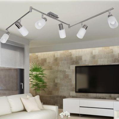 Edelstahl & Glas LED-Spot Deckenlampe 6-flammig...