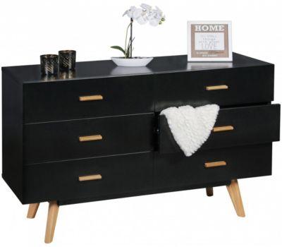 Kommode ´´Kolimi´´ mit 6 Schubladen 120x40x70 cm schwarz