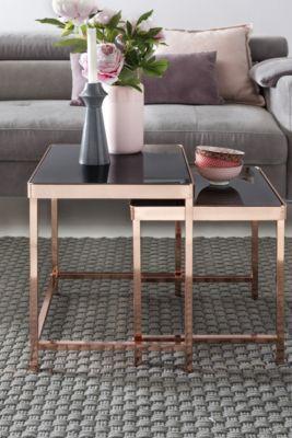 WOHNLING 2er Set Satztisch Couchtisch Metall Glas Schwarz / Kupfer Beistelltisch Wohnzimmertisch Glastisch schwarz