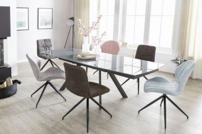 Glas & Metall Esstisch ausziehbar 160-240 cm grau