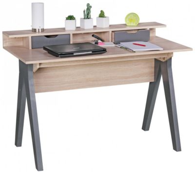 WOHNLING Schreibtisch SAMO Bürotisch Sonoma / Grau 120 cm Skandinavisch Schreib- und Computertisch braun