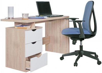 WOHNLING Schreibtisch SAMO 120 x 76 x 53 cm 3 Schubladen Sonoma Weiß Computertisch platzsparend beige/braun