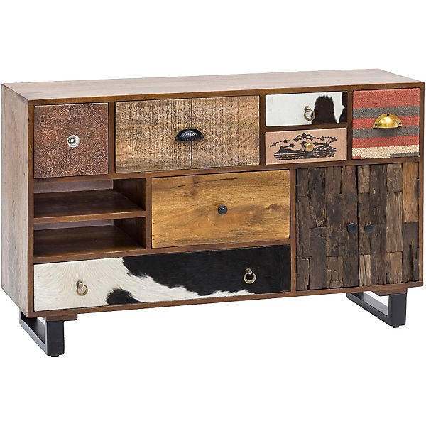 "Mango Massivholz & Metall Sideboard ""Patch"" 120x35x76 cm"
