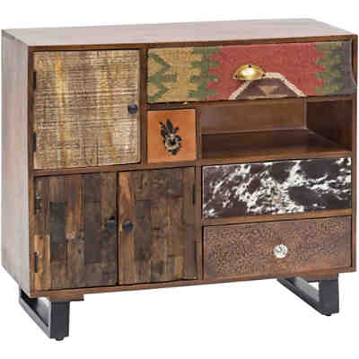 "Mango Massivholz & Metall Sideboard ""Patch"" 90x35x80 cm"