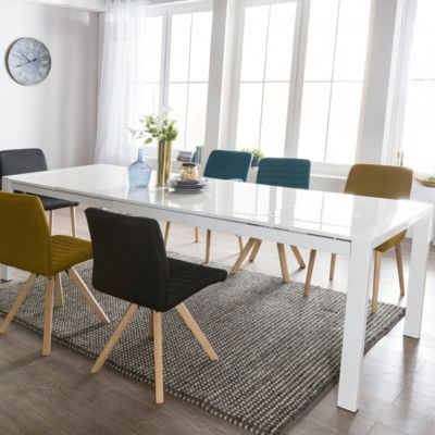 Hochglanz Esstisch ausziehbar 160 - 260 cm weiß