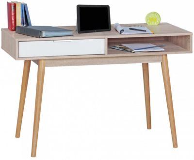 WOHNLING Schreibtisch SAMO Computertisch mit Schublade Sonoma Weiß Tisch mit Fächer Bürotisch Ablage 120 cm braun