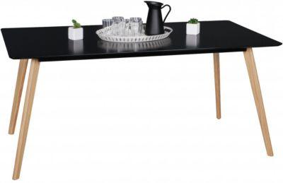 Esstisch ´´Skandi Retro´´ Eichen Dekor schwarz Gr. 90 x 160