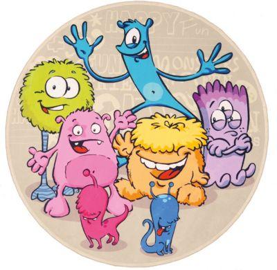 Kinderteppich Lovely Kids, Lustige Aliens, rund, 100 cm | Kinderzimmer > Textilien für Kinder > Kinderteppiche | Lovely Kids