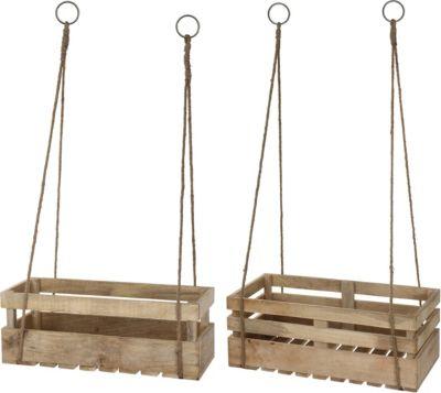 2-tlg. Mangoholz Kisten Set inkl. Aufhängung natur