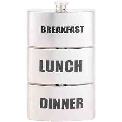 "Edelstahl Flachmann ""Breakfast, Lunch, Dinner"" 3 x 0,1l"