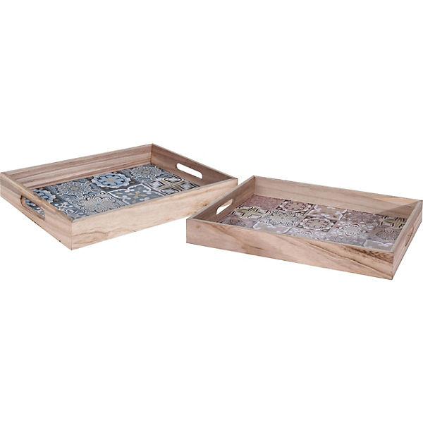 2 Tlg Holz Tablett Set Blau Yomonda
