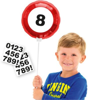 Folat Zahlen-Folienballon Verkehrsschilder, personalisierbar rot/weiß