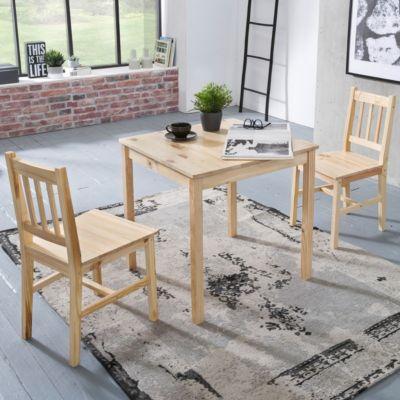 3-tlg. Essgruppe Kiefer Massivholz, 1 Esstisch + 2 Stühle braun