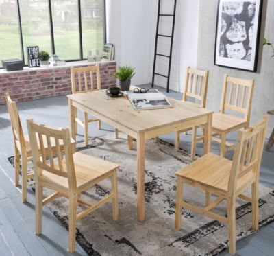 WOHNLING Esszimmer Set EMIL 7 teilig Kiefernholz Landhaus 120x73x70 cm Essgruppe Tischgruppe Esstischset holzfarben
