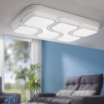 LED Deckenleuchte Metall/Acryl mit 4 Lichtfeldern, 53x78 cm weiß
