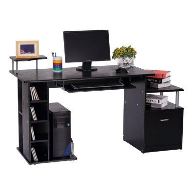 Computertisch mit Ablage B152xT80xH88 cm schwarz