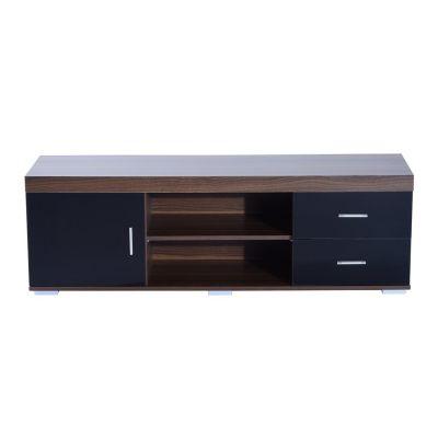 HOMCOM TV-Lowboard im klassischen Design L140 cm schwarz/braun