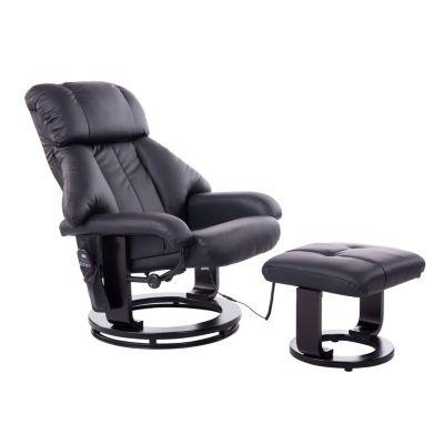 HOMCOM TV Sessel und Hocker mit Massage- und Heizfunktion schwarz