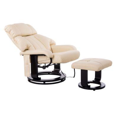 HOMCOM TV Sessel und Hocker mit Massage- und Heizfunktion creme