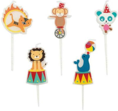 Kerzen Zirkus, 5 Stück mehrfarbig