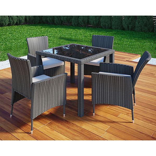 Polyrattan Gartenmöbel Set 2 Stühle Polster U Tisch