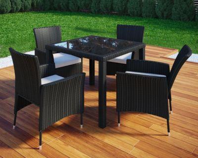 5-tlg. Polyrattan Gartenmöbel Set schwarz