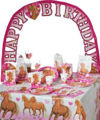 Partyset Horses, 56-tlg. rosa