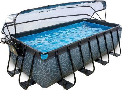 Frame Pool 4x2x1m mit Sonnendach, grau