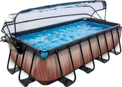 Frame Pool 4x2x1m mit Sonnendach, Holz Optik braun