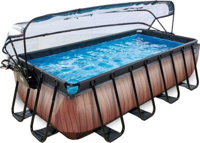 Frame Pool Premium 4x2x1m mit Sonnendach, Holz ...