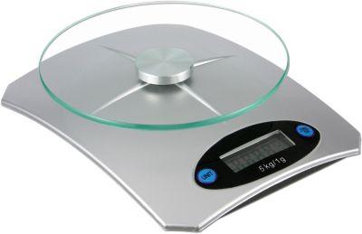 digitale Küchenwaage mit Glasplatte silber
