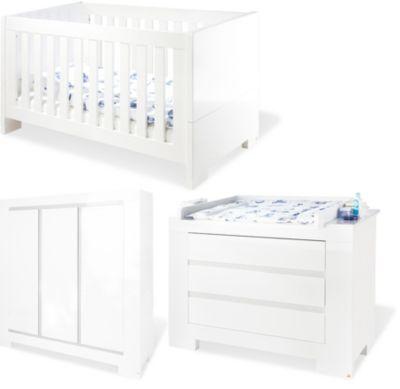 Pinolino Komplett Kinderzimmer ARCTICA, 3-tlg. (Kinderbett, Wickelkommode und 3-türiger Kleiderschrank), weiß
