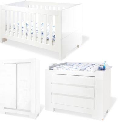 Komplett Kinderzimmer ARCTICA, 3-tlg. (Kinderbett, Wickelkommode und 2-türiger Kleiderschrank), weiß