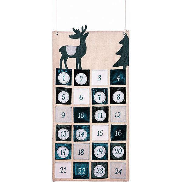 adventskalender zum aufh ngen rentier 85x45 cm beige hotex yomonda. Black Bedroom Furniture Sets. Home Design Ideas