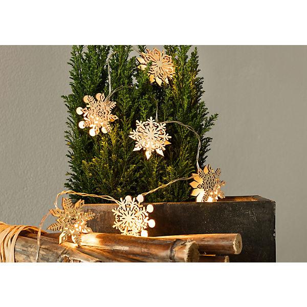 Weihnachtsdeko Klingel.Lichterkette Schneeflocke Mit Weihnachtsdeko Aus Holz L 135 Cm Gold Hotex