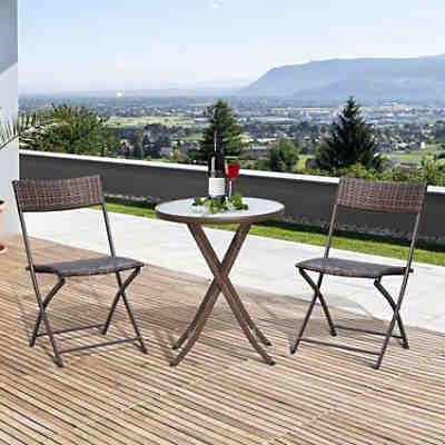 3 tlg polyrattan gartenm bel set bastian klappbar 2 gartenst hle tisch rund wei yomonda. Black Bedroom Furniture Sets. Home Design Ideas
