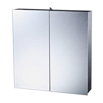 LED Badspiegelschrank 60x11x60 cm silber