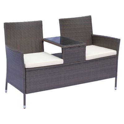 Outsunny Polyrattan 2-Sitzer Gartensofa mit Tischchen 133x63x84 cm braun