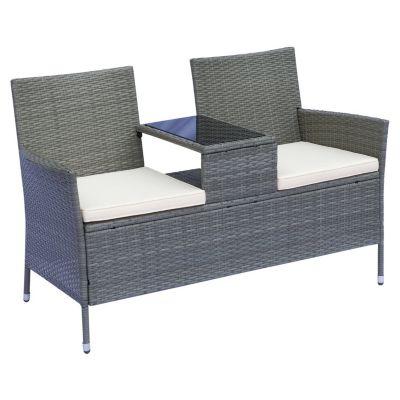 Outsunny Polyrattan 2-Sitzer Gartensofa mit Tischchen 133x63x84 cm grau