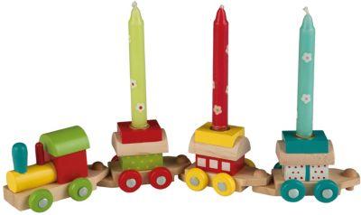 Holz-Geburtstagszug 3 Kerzen bunt Kinder